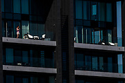 Luxury lockdown in a penthouse over4looking Wandsworth bridge - The 'lockdown' continues in London because of the Coronavirus (Covid 19) outbreak.