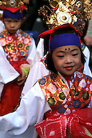 Japanese Kids in Kimono at the local horseback archery festival held in Zushi, Kanagawa-ken.  Apart from the archery itself, the preceding parade is full of local color, with citizens dressed in traditional costumes, kimono and even samurai.