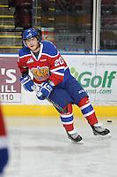 KELOWNA, CANADA, FEBRUARY 15: Rhett Rachinski #20 of the Edmonton OIl Kings skates on the ice at the Kelowna Rockets on February 15, 2012 at Prospera Place in Kelowna, British Columbia, Canada (Photo by Marissa Baecker/Shoot the Breeze) *** Local Caption ***