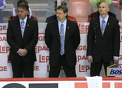 Finland coaches ( Doug Shedden, Timo Lehkonen and Jukka Jalonen) at play-off round quarterfinals ice-hockey game USA  vs Finland at IIHF WC 2008 in Halifax,  on May 14, 2008 in Metro Center, Halifax, Nova Scotia,Canada. Win of Finland 3 : 2. (Photo by Vid Ponikvar / Sportal Images)