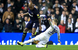 Leeds United's Ezgjan Alioski (right) tackles Derby County's Andre Wisdom during the Sky Bet Championship match at Elland Road, Leeds.