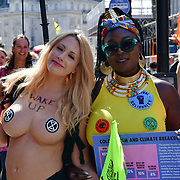Piccadilly Circus, London, UK. 2021-08-25. The informous courageous naked rebellion Laura Hope attended Women and FINT Rebellion Action