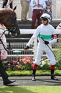 Jockey FRANKIE DETTORI is ready to mount WISSAHICKON during the Ebor Festival at York Racecourse, York, United Kingdom on 24 August 2019.
