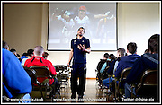 Paralympian and Team GB 2012 T35 sprinter Sam Ruddock pictured talking to students  at Birmingham Metropolitian College, Hagley Rd Campus in Stourbridge . Picture by Shaun Fellows / Shine Pix