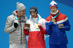 February 18, 2018 - Pyeongchang, South Korea - ANDREAS WELLINGER of Germany (left0 , KAMIL STOCH of Poland (center) and ROBERT JOHANSSON of Norway with their medals from the Men's Large Hill Individual ski jumping event in the PyeongChang Olympic Games. (Credit Image: © Christopher Levy via ZUMA Wire)
