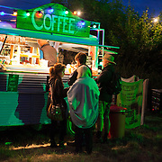 A van doubling up as a coffee shops is open till late into the night at the Super Normal art and music festival in Oxfordshire.