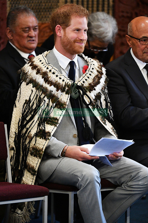 The Duke of Sussex wears a traditional Maori cloak called a Korowai during a visit to Te Papaiouru, Ohinemutu, in Rotorua, before a lunch in honour of Harry and Meghan, on day four of the royal couple's tour of New Zealand.