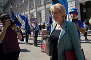 Pro remain campaigner Steve Bray speaks to Andrea Leadsom MP, Secretary of State for Department for Business, Energy and Industrial Strategy as she leaves the Cabinet office in Whitehall, London, United Kingdom on 22nd August 2019.
