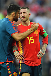 Diego Costa and Sergio Ramos dejected after being eliminated of the 2018 FIFA World Cup by the Russia in Moscow, Russia on July 1st, 2018. Photo by Lionel Hahn/ABACAPRESS.COM