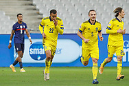 Robin Quaison (SWE) scored a goal, the second for Sweden team, celebration, during the UEFA Nations League football match between France and Sweden on November 17, 2020 at Stade de France in Saint-Denis, France - Photo Stephane Allaman / ProSportsImages / DPPI