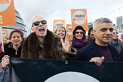 © Licensed to London News Pictures. 05/03/2017. LONDON, UK.  Annie Lennox and Sadiq Khan, Mayor of London join feminist activists to take part in the March4Women, organised by CARE International to mark International Women's Day. The Women's Day March begins at The Scoop near City Hall, before proceeding over Tower Bridge and finishing at the Tower of London. Photo credit: Vickie Flores/LNP
