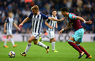 James Morrison of West Bromwich Albion in action with Jose Fonte of West Ham United. Premier league match, West Bromwich Albion v West Ham United at the Hawthorns stadium in West Bromwich, Midlands on Saturday 16th September 2017. pic by Bradley Collyer, Andrew Orchard sports photography.