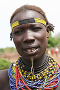 Africa, Ethiopia, Omo Valley, Daasanach tribe woman