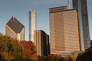 Downtown Michigan Avenue skyline from Millennium Park Chicago USA