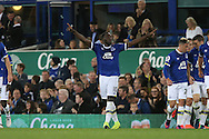 Romelu Lukaku of Everton (c) celebrates after scoring his teams 1st goal. Premier league match, Everton v Crystal Palace at Goodison Park in Liverpool, Merseyside on Friday 30th September 2016.<br /> pic by Chris Stading, Andrew Orchard sports photography.