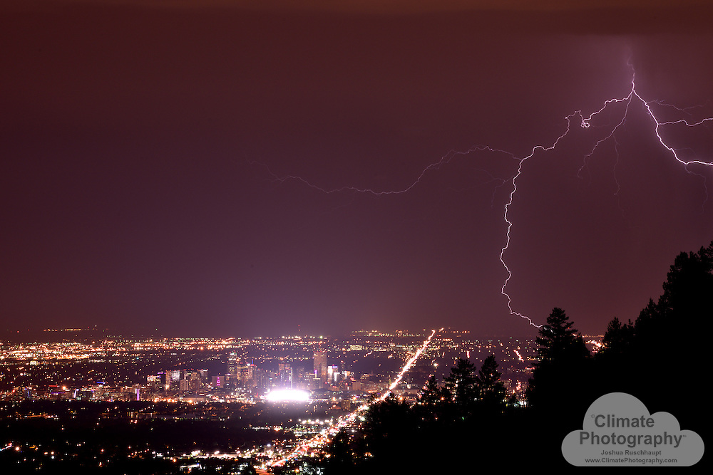 Denver skyline from Lookout Mountain, with lightning.