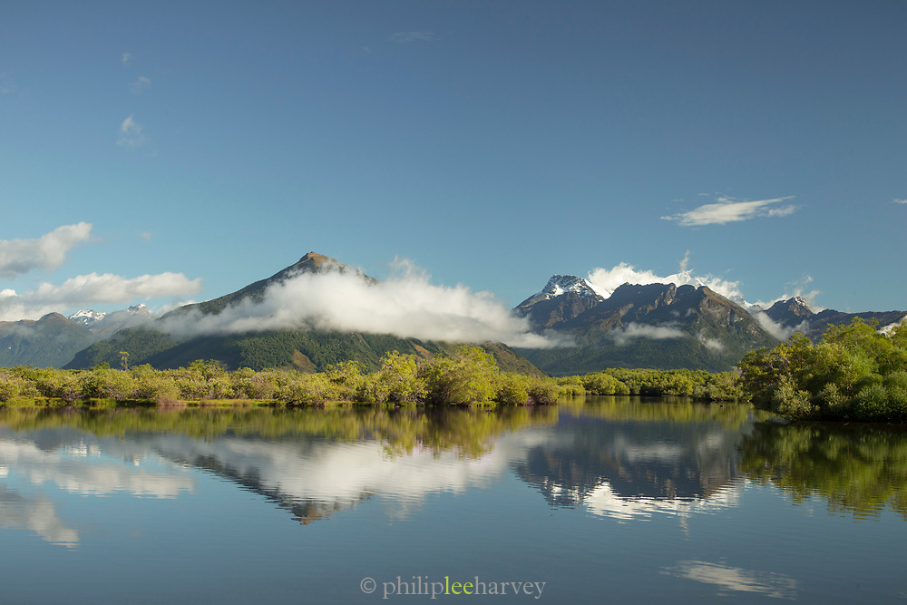 Scenic landscape with view of the Humboldt Mountains and a lake, Glenorchy, South Island, New Zealand