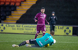 Airdrie's keeper Ben McKenzie saves from Arbroath's Bobby Linn. Airdrie 0 v 1 Arbroath, Scottish Football League Division One played 15/12/2018 at Airdrie's Excelsior stadium.