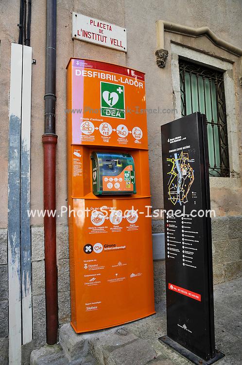 Girona, Historic centre, Catalonia, Spain a public access defibrillator