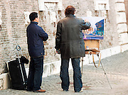 Artist and observer at the top of the Spanish Steps, Rome, Italy.
