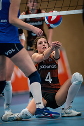 Hyke Lijklema #4 of Talent Team in action during the first league match in the corona lockdown between Talentteam Papendal vs. Sliedrecht Sport on January 09, 2021 in Ede.