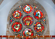 Israel, Tel Aviv, Jaffa, Interior of the Immanuel Lutheran Church. The church was built in 1904. Stained glass window