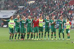 05.04.2014, SGL Arena, Augsburg, GER, 1. FBL, FC Augsburg vs FC Bayern Muenchen, 29. Runde, im Bild l-r: Raphael Holzhauser #8 (FC Augsburg), Dominik Kohr #21 (FC Augsburg), Dominik Reinhardt #4 (FC Augsburg), Ronny Philp #3 (FC Augsburg), Arkadiusz Milik #9 (FC Augsburg), Matthias Ostrzolek #19 (FC Augsburg), Alexander Esswein #11 (FC Augsburg), Jan-Ingwer Callsen-Bracker #18 (FC Augsburg) // during the German Bundesliga 29th round match between FC Augsburg and FC Bayern Munich at the SGL Arena in Augsburg, Germany on 2014/04/05. EXPA Pictures © 2014, PhotoCredit: EXPA/ Eibner-Pressefoto/ Kolbert<br /> <br /> *****ATTENTION - OUT of GER*****