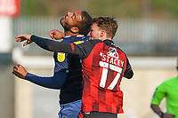 Football - 2020 / 2021 Sky Bet (EFL) Championship - Millwall vs AFC Bournemouth  - The Den<br /> <br /> Kenneth Zohore (Millwall FC) and David Brooks (AFC Bournemouth) clash heads as they compete for the header <br /> <br /> COLORSPORT/DANIEL BEARHAM