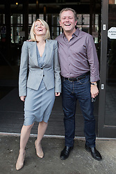 © Licensed to London News Pictures . 25/09/2016 . Liverpool , UK.  ESTHER MCVEY and JON CULSHAW leave Peston on Sunday at The Titanic Hotel during a round of Sunday morning political interviews from the Docks in Liverpool,  on the first day of the Labour Party Conference . Photo credit : Joel Goodman/LNP