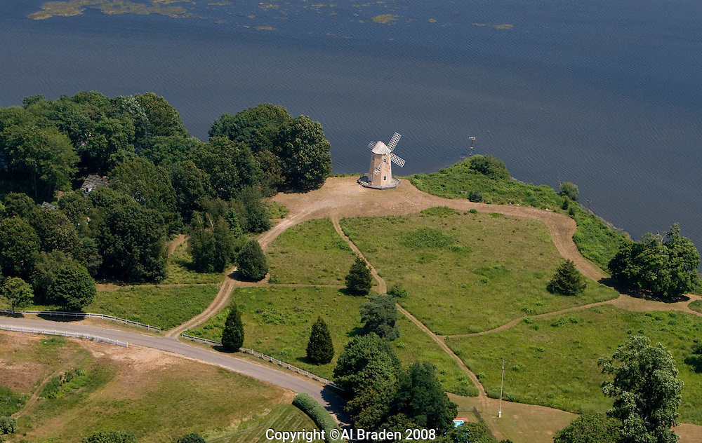 Aerial of Windmill along the Connecticut River at Essex, CT (North Cove)