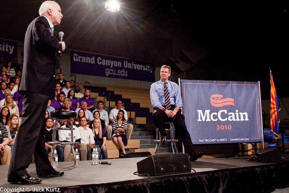 05 MARCH 2010 -- PHOENIX, AZ: Sen. John McCain (CQ) speaks at his election rally at Grand Canyon University in Phoenix Friday. He was joined by newly elected US Senator Scott Brown from Massachusetts.  McCain is facing a tough primary battle from former Republican Congressman JD Hayworth. McCain has Scott Brown (R-MA) and Sarah Palin campaigning for him. Both men are courting the Tea Party activists but so far the Tea Party has refused to endorse either candidate.     PHOTO BY JACK KURTZ