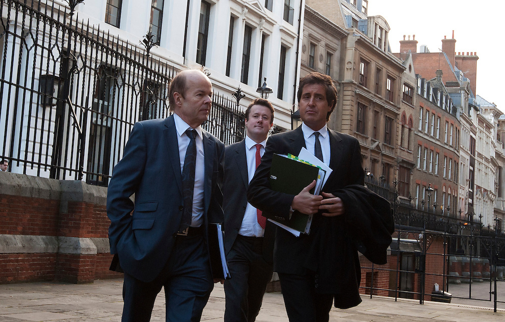 Christopher Jefferies (L), who was wrongly accused of Joanna Yeates' murder, arrives with his lawyer David Sherborne (R) to give evidence to The Leveson Inquiry at The Royal Courts of Justice on November 28, 2011 in London, England. The inquiry is being lead by Lord Justice Leveson and is looking into the culture, practice and ethics of the press in the United Kingdom. The inquiry, which will take evidence from interested parties and may take a year or more to complete, comes in the wake of the phone hacking scandal that saw the closure of The News of The World newspaper.