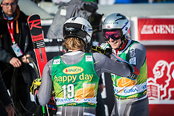 KRISTOFFERSEN Henrik of Norway and WINDINGSTAD Rasmus of Norway celebrate during trophy ceremony after the Audi FIS Alpine Ski World Cup Men's Giant Slalom 58th Vitranc Cup 2019 on March 9, 2019 in Podkoren, Kranjska Gora, Slovenia. Photo by Peter Podobnik / Sportida