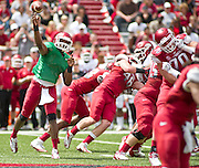 Apr 20, 2013; Fayetteville, AR, USA; Arkansas Razorback red quarterback Brandon Mitchell (17) makes a pass during the red vs. white spring football game at Donald W. Reynolds Razorback Stadium. Mandatory Credit: Beth Hall-USA TODAY Sports