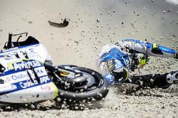 June 16, 2018 - Barcelona, Catalonia, Spain - The Belgian rider, Xavier Simeon of Reale Avintia Racing, crash with his Ducati, during the Qualifying, Moto GP of Catalunya at Circuit de Catalunya on June 16, 2018 in Barcelona, Spain. (Credit Image: © Joan Cros/NurPhoto via ZUMA Press)