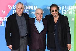 Martin Scorsese and Al Pacino at The Irishman photocall, part of the BFI London Film Festival 2019, May Fair Hotel. Photo credit should read: Doug Peters/EMPICS