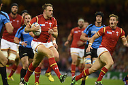 Cory Allen of Wales makes a break. Rugby World Cup 2015 pool A match, Wales v Uruguay at the Millennium Stadium in Cardiff, South Wales  on Sunday 20th September 2015.<br /> pic by  Andrew Orchard, Andrew Orchard sports photography.