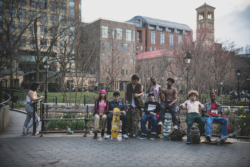 Youth and skateboards in Washington Square Park, New York City<br /> <br /> (March 20, 2020)
