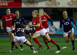 Hannah Jones of Wales Women makes a break<br /> <br /> Photographer Simon King/Replay Images<br /> <br /> Friendly - Wales Women v Hong Kong Women - Friday  16th November 2018 - Cardiff Arms Park - Cardiff<br /> <br /> World Copyright © Replay Images . All rights reserved. info@replayimages.co.uk - http://replayimages.co.uk