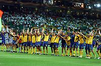 Stadio Jose Alvalade LISBON PORTUGAL 14/06/04  SWEDEN V BULGARIA (5-0) EURO 2004<br />SWEDEN CELEBRATE IN FRONT OF THEIR FANS AFTER 5-0 THRASHING OF BULGARIA<br />Photo Roger Parker Fotosports International