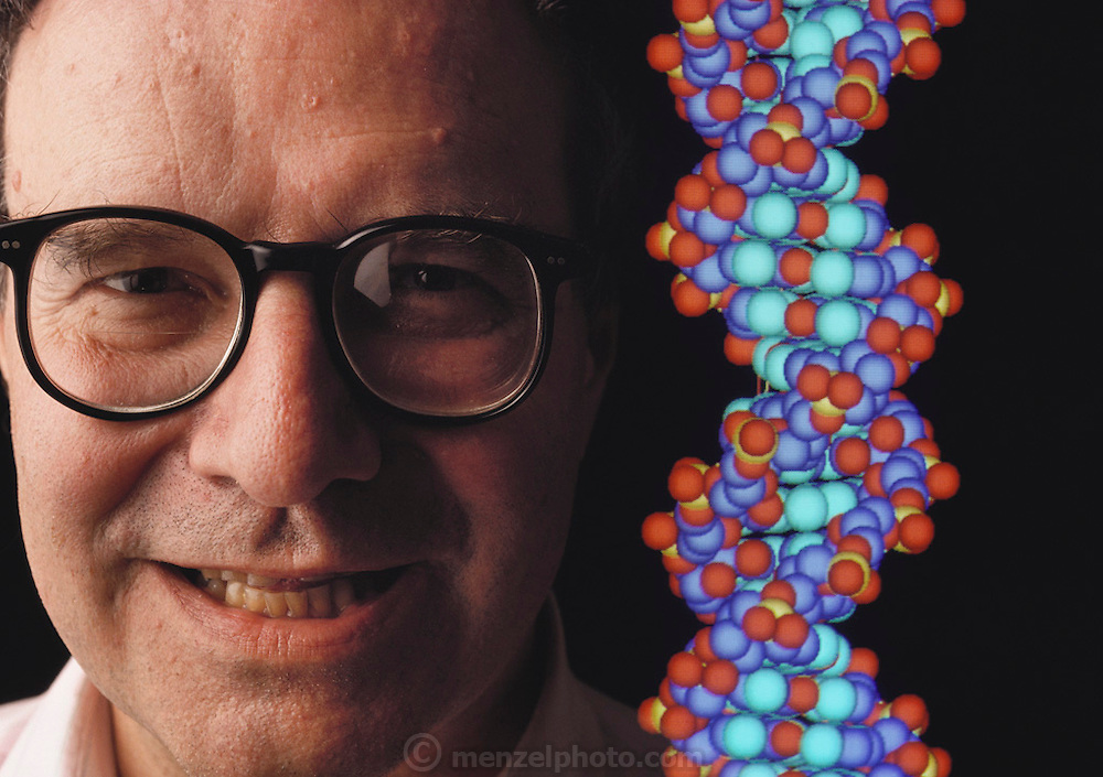 Walter Gilbert, Harvard University Nobel laureate scientist, appears next to a computer graphics representation of the DNA molecule in this double- exposure photograph. Gilbert is a leading proponent of the human genome project, an ambitious plan to build a complete, detailed biochemical document of every gene expressed on each of the 23 pairs of human chromosomes. MODEL RELEASED May 1989..Human Genome Project.