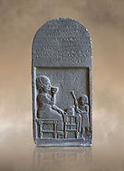 Neo Hittite basalt funerary stele with an aramean inscription from Neirab or Tell Afis, Syria, 7th cent BC. Louvre Museum