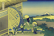 Waterwheel at Onden: 'From 'Thirty-six Views of Mount Fuji', c1831.  Katsushika Hokusai (1760-1849) Japanese Ukiyo-e artist. Peasants collect water while others carry sacks to the mill for grinding. Techology Power Water Landscape