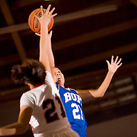 012513       Cable Hoover<br /> <br /> Hopi Bruin Christen Ben (21) shoots over the St Michaels Cardinal defense Friday at the Window Rock Sports Center.