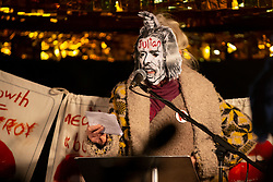 © Licensed to London News Pictures. 05/11/2019. London, UK. Fashion Designer Vivienne Westwood speaks to activists who have gathered outside the Home Office to show their support for Wikileaks founder Julian Assange . Photo credit: George Cracknell Wright/LNP