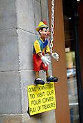 Marionette (puppet) advertising sign. The Rocks, Sydney, Australia
