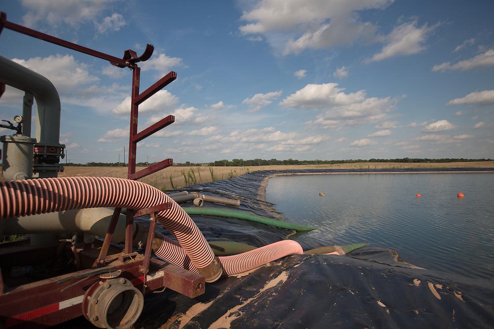 Frack pond for the fracking industry in Kingfisher Oklahoma.