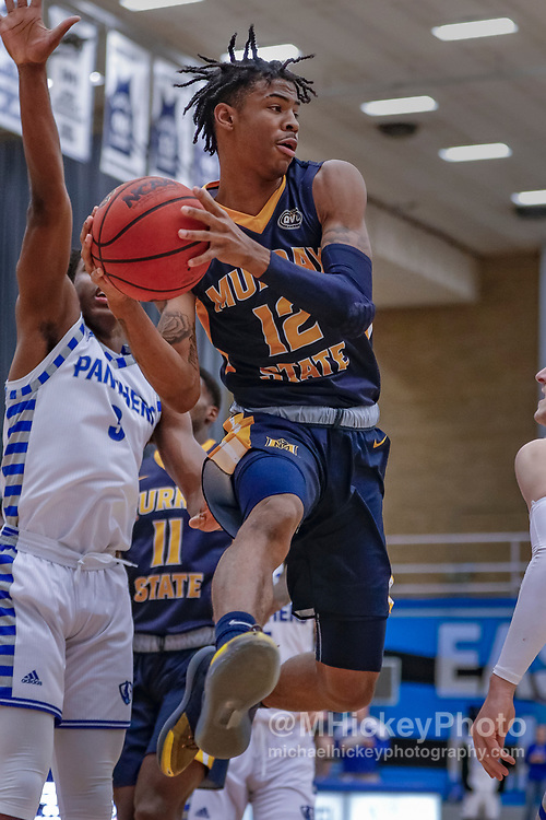 CHARLESTON, IL - JANUARY 17: Ja Morant #12 of the Murray State Racers passes the ball during the game against the Eastern Illinois Panthers at Lantz Arena on January 17, 2019 in Charleston, Illinois. (Photo by Michael Hickey/Getty Images) *** Local Caption *** Ja Morant