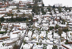 © Licensed to London News Pictures. 04/12/2020. Sutton Valence, UK. The village of Sutton Valence in Kent is covered in a blanket of snow as the south of England experiences snowfall for the first time this winter. Photo credit: Peter Macdiarmid/LNP