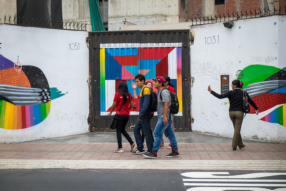LIMA, PERU - CIRCA APRIL 2014: Group of People walking in famous and populous Jose Larco Ave, in the Miraflores neighborhood.